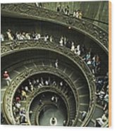Tourists Descend The Double Spiral Wood Print