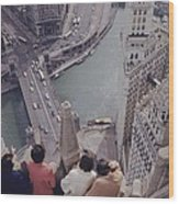Tourists Looking Down On The Chicago Wood Print
