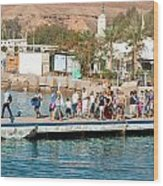 Tourists Waiting To Climb Onto Dive And Snorkeling Boats At Sharm El Sheikh Wood Print