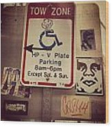 Tow Zone Collage Wood Print