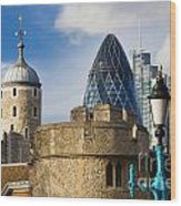 Tower And Gherkin Wood Print by Donald Davis