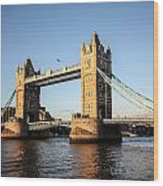 Tower Bridge And Helicopter Wood Print