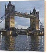 Tower Bridge And River Thames At Dusk Wood Print