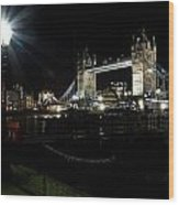 Tower Bridge And Riverside Night View  Wood Print