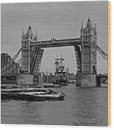 Tower Bridge And The Endeavor Wood Print