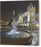 Tower Bridge Girl With A Dolphin Wood Print