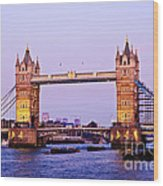 Tower Bridge In London At Dusk Wood Print
