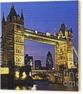 Tower Bridge In London At Night Wood Print