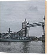 Tower Bridge Open Wood Print
