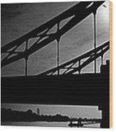 Tower Bridge Silhouette Wood Print