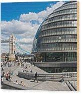 Tower Bridge With City Hall Wood Print