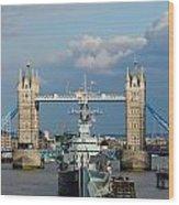 Tower Bridge With Hms Belfast Wood Print
