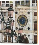 Tower Clock In Saint Mark's Square Wood Print by Susan Holsan