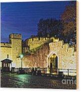 Tower Of London Walls At Night Wood Print by Elena Elisseeva