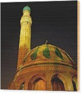 Towering Mosque In The Night Wood Print by Rick Frost