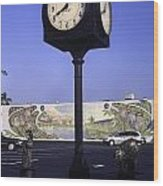 Town Clock Wood Print by Sally Weigand
