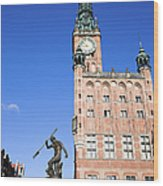 Town Hall And Neptune Fountain In Gdansk Wood Print