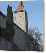 Town Wall And Tower - Rothenburg Wood Print
