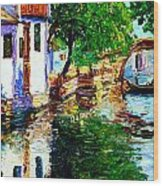 Town With Water Streets Wood Print