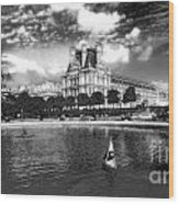 Toy Boating In A Parisian Park Bw Wood Print