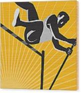 Track And Field Athlete Pole Vault High Jump Retro Wood Print by Aloysius Patrimonio