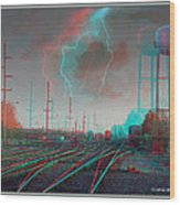 Tracking The Storm - Red-cyan Filtered 3d Glasses Required Wood Print
