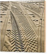 Tracks In . Sand Wood Print by Sam Bloomberg-rissman