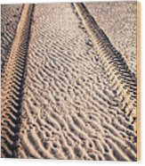 Tracks In The Sand Wood Print
