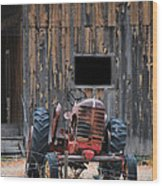 Tractor And The Barn Wood Print