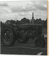 Tractor At The Flats Wood Print