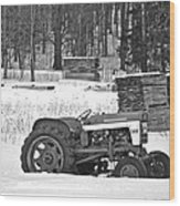 Tractor At The Mill  Wood Print
