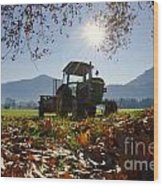 Tractor In Backlight Wood Print