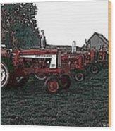Tractor Row Wood Print
