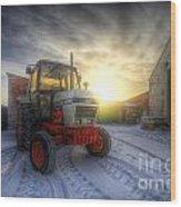 Tractor Sunrise Wood Print
