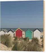 Traditional Beach Huts In The Sand Wood Print