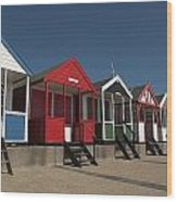 Traditional Beach Huts On The Seafront Wood Print
