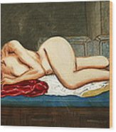 Traditional Modern Female Nude Reclining Odalisque After Ingres Wood Print by G Linsenmayer