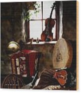 Traditional Musical Instruments, In Old Wood Print
