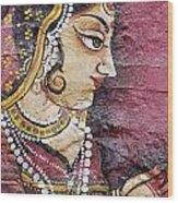 Traditional Painting On A Wall Jodhpur Wood Print