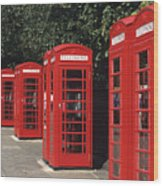 Traditional Red Telephone Boxes In London, England Wood Print