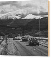 Traffic On A82 Trunk Road Through The Scottish Highlands With Snow Covered Mountains Ben More  Wood Print