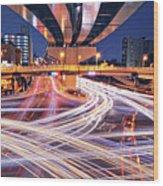 Traffic Trails Wood Print by Y2-hiro