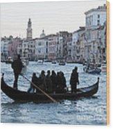 Traghetto . Gran Canal. Venice Wood Print by Bernard Jaubert