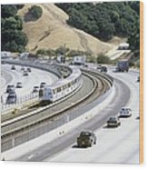 Train And Motorway, California, Usa Wood Print by Martin Bond