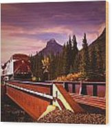 Train Going Over A Bridge Banff Wood Print