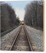 Train Head On Wood Print