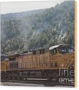 Train In Spanish Fork Canyon Wood Print