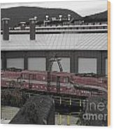 Train On The Table Wood Print