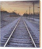 Train Tracks And Color 2 Wood Print