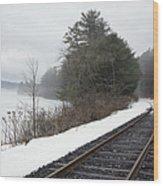 Train Tracks In Snowy Landscape Wood Print by Roberto Westbrook